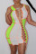 Fluorescent Green Fashion Sexy Patchwork Hollowed Out O Neck Sleeveless Dress