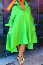 Green Fashion Casual Solid Lapel Dress