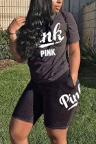 Black Fashion Casual Short Sleeve T-shirt Sports Set