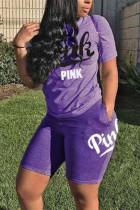 Purple Fashion Casual Short Sleeve T-shirt Sports Set