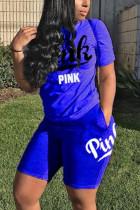 Blue Fashion Casual Short Sleeve T-shirt Sports Set