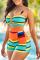 Stripe Sexy Striped Hollowed Out Split Joint Swimwears