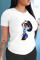 White Casual Print Split Joint O Neck T-Shirts