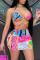 Pink Fashion Sexy Print Backless Strap Design Swimwears Set