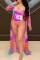 Purple Fashion Sexy Print Cardigan Swimwears Set