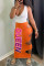 Orange Sexy Casual Letter Print Hollowed Out Split Joint U Neck Sleeveless Two Pieces