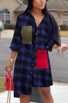 Blue Casual adult Fashion Cap Sleeve Long Sleeves Turndown Collar Asymmetrical Mid-Calf Print P