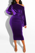 Dark Purple Fashion Sexy Solid backless One word collar Step Skirt Dresses