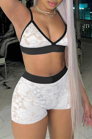 White Sexy Living Solid See-through Backless V Neck Sleeveless Two Pieces