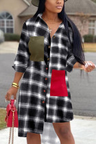 White Casual adult Fashion Cap Sleeve Long Sleeves Turndown Collar Asymmetrical Mid-Calf Print P