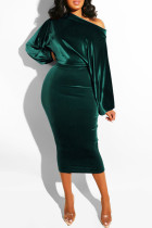 Dark Green Fashion Sexy Solid backless One word collar Step Skirt Dresses