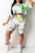 White Casual Print Split Joint O Neck Half Sleeve Two Pieces