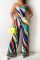 Multicolor Sexy Print Split Joint Strapless Straight Jumpsuits