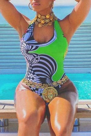 Green Fashion Sexy Print Backless Swimwears