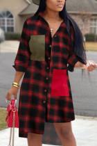 Red Casual adult Fashion Cap Sleeve Long Sleeves Turndown Collar Asymmetrical Mid-Calf Print P
