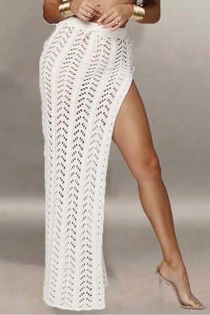 White Sexy Solid Split Joint Straight Mid Waist Straight Solid Color Bottoms