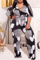 Black And White Fashion Casual Print Basic V Neck Plus Size Jumpsuits