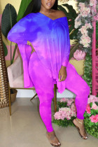 purple Fashion adult Ma'am OL Gradient contrast color Two Piece Suits pencil Long Sleeve Two Pieces