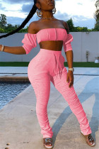 Pink Sexy Fashion Strapless Tops Trousers Set