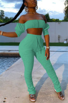 Light Green Sexy Fashion Strapless Tops Trousers Set