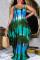 Blue Fashion Casual Plus Size Print Basic Spaghetti Strap Sleeveless Dress