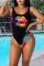Black Sexy Print Split Joint Swimwears