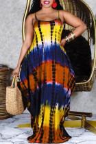 Yellow Fashion Casual Plus Size Print Basic Spaghetti Strap Sleeveless Dress