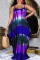 Purple Fashion Casual Plus Size Print Basic Spaghetti Strap Sleeveless Dress