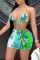 Green Fashion Sexy Print Backless Strap Design Swimwears Three-piece Set