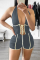 Grey Sexy Patchwork Draw String Halter Skinny Jumpsuits