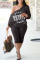 Grey Sexy Print Letter One Shoulder Plus Size Two Pieces