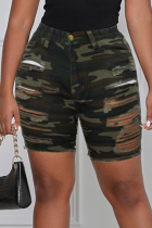 Camouflage Street Camouflage Print Ripped Straight Mid Waist Straight Full Print Plus Size Denim Shorts