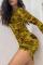 Yellow Sexy Print Split Joint O Neck Pencil Skirt Dresses