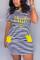 Yellow Fashion Casual Printed Short Sleeve Dress