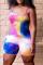 Multicolor Sexy Patchwork Tie-dye Spaghetti Strap Plus Size Jumpsuits