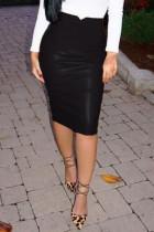 Black Trendy High Waist Leather Sheath Knee Length Skirts