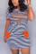 Orange Fashion Casual Printed Short Sleeve Dress