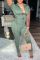 Army Green Casual Solid Split Joint Hooded Collar Skinny Jumpsuits