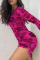 Rose Red Sexy Print Split Joint O Neck Pencil Skirt Dresses