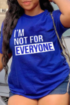 Royal Blue Casual Print Letter O Neck T-Shirts