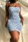 Blue Sexy Print Split Joint Pencil Skirt Dresses