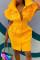 Yellow Fashion Casual Solid Basic Mandarin Collar Short Sleeve Dress