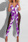 Purple Sexy Print Split Joint See-through Backless Halter Skinny Jumpsuits