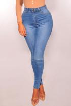 Baby Blue Casual Skinny Denim Jeans