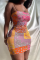 Pink Sexy Print Split Joint Pencil Skirt Dresses