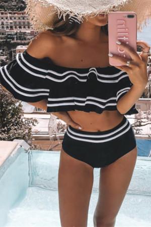 Black Sexy Stitching Swimwear Two-piece Set