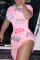 Pink Sexy Casual Letter Print Slit O Neck Short Sleeve Dress
