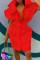 Red Fashion Casual Solid Basic Mandarin Collar Short Sleeve Dress