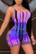 Purple Sexy Patchwork Tie-dye Spaghetti Strap Skinny Jumpsuits