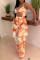 Orange Fashion Sexy Print Hollowed Out Backless Swimwears Set